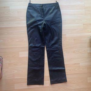 EXPRESS Brand BLACK Leather Bootleg Pants Sz 7/8
